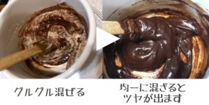 チョコレートと生クリームを混ぜる